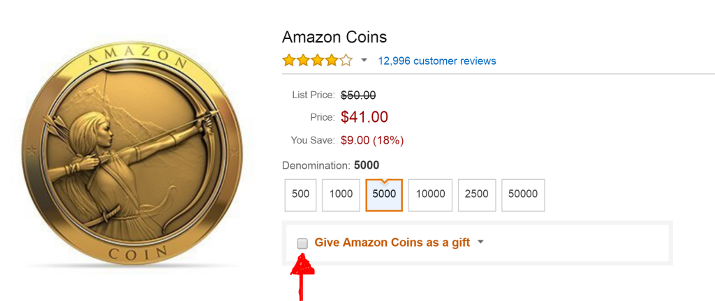Give amazon coins as a gift