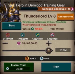 Training cost for CT8 in Valk hero
