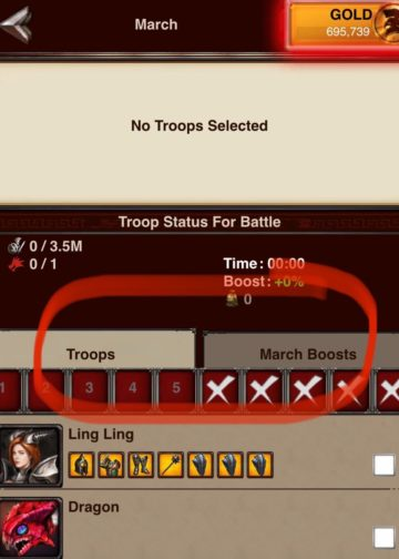Troop and March Boost tabs