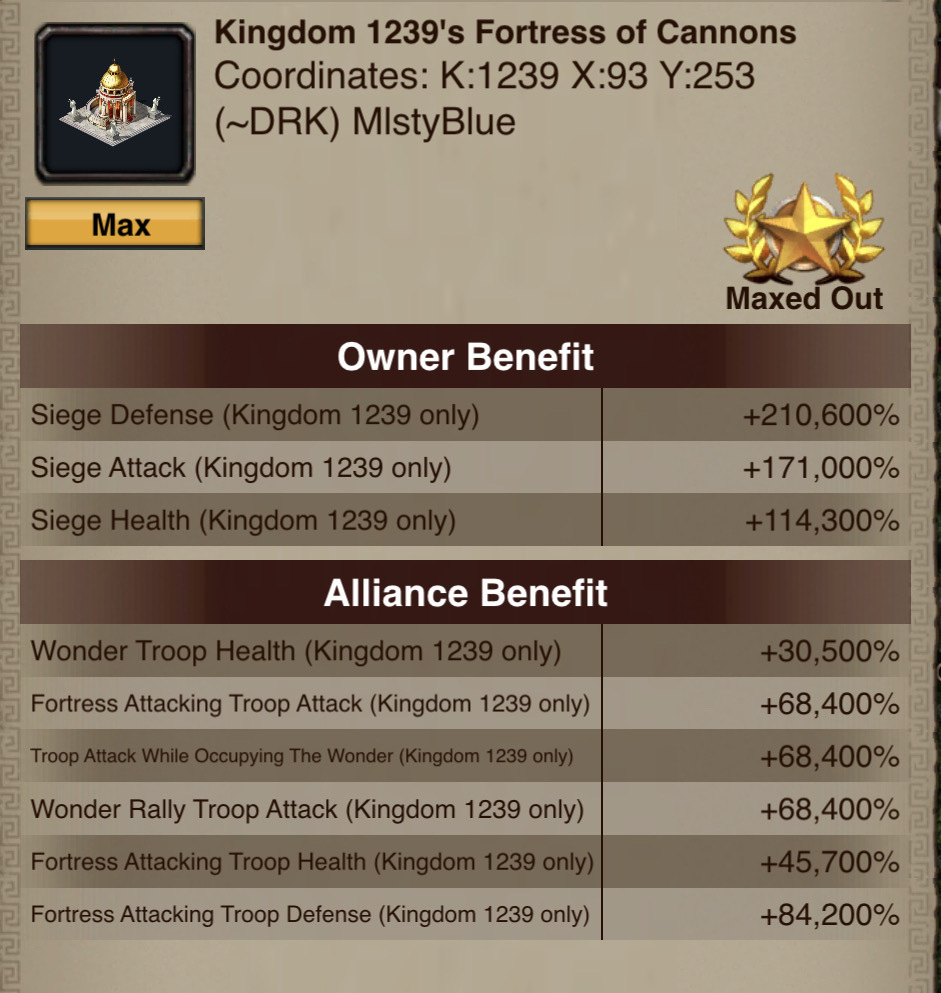 Fortress of Cannons Boosts