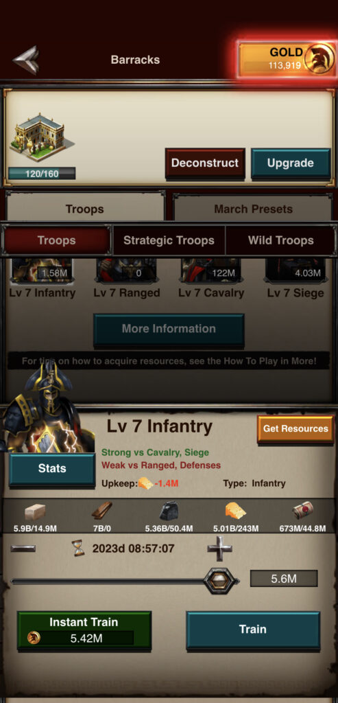 T7 Infantry Training View